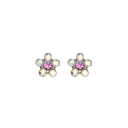 Inverness SS AB Crystal w/ Rose Flower Earring (120C)